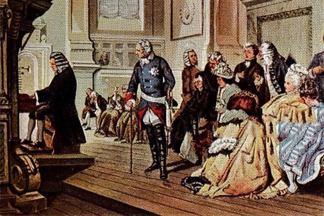 Рис. 4. Иоганн Себастьян Бах играет королю Фридриху II