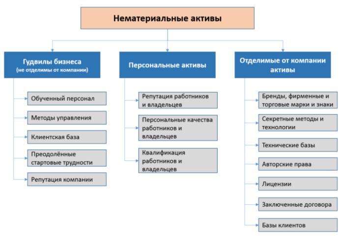 Рис. 4. Классификация нематериальных активов