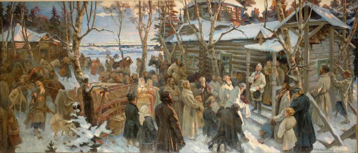 Рис. 4. Отъезд А. В. Суворова из села Кончанского в поход. Н. А. Шабунин. 1799 год