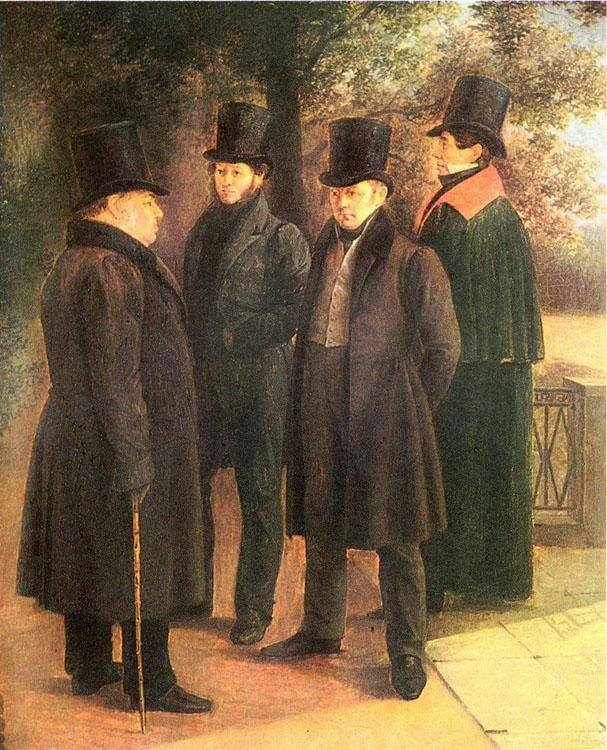 Рис. 4. Пушкин, Крылов, Жуковский и Гнедич в Летнем саду. Г. Чернецов. 1832 год