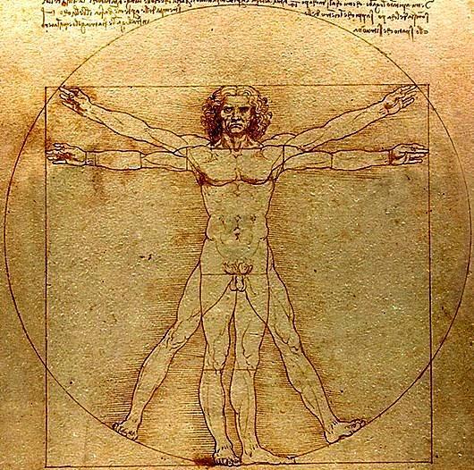 Рис. 5. Витрувианский человек. Леонардо да Винчи. 1490 год