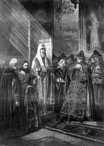 Рис. 6. Митрополит Филипп отказывается благословить Ивана Грозного. В. В. Пукирев