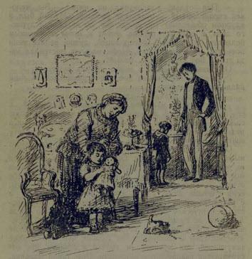 Рис. 6. Соня с няней, Вася и отец. Иллюстрация Н. Кустова