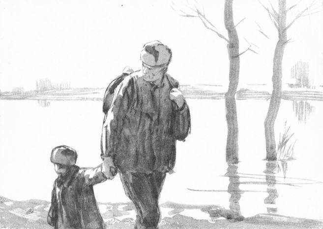Рис. 6. Иллюстрации к повести М. Шолохова Судьба человека. Кукрыниксы