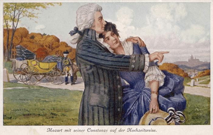 Рис. 4. Моцарт и Констанция во время своего медового месяца. Открытка XIX века
