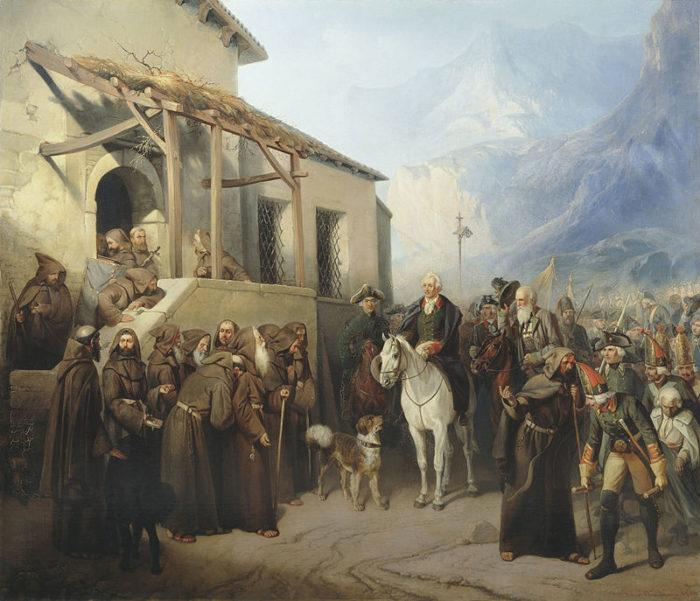 Рис. 8. Фельдмаршал Суворов на вершине Сен-Готарда. А. И. Шарлемань. 1799 год
