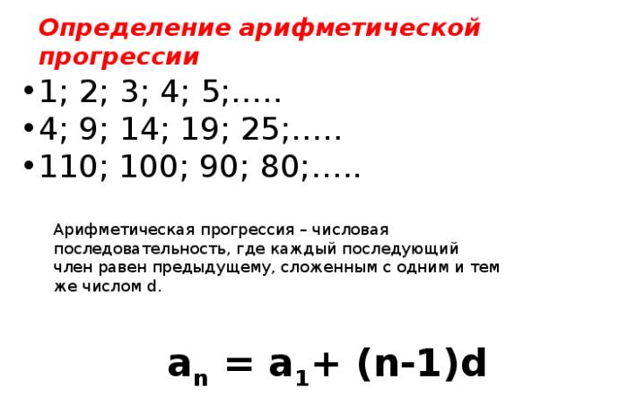 Рис. 1. Определение арифметической прогрессии
