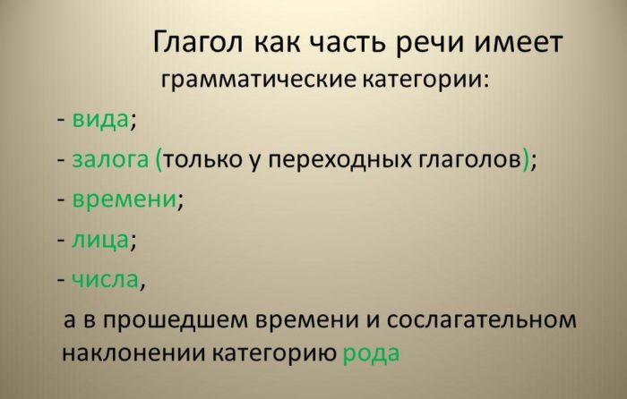 Рис. 2. Грамматические категории глагола