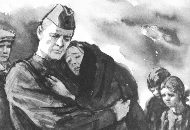 Рис. 2. Иллюстрации к повести М. Шолохова Судьба человека. Кукрыниксы