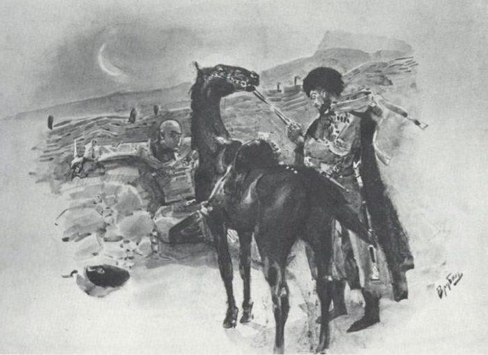 Рис. 2. Казбич и Азамат. Иллюстрация М. А. Врубеля. 1891 год