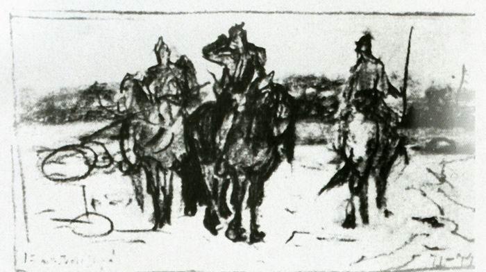 Рис. 2. Первый набросок картины «Богатыри». В. М. Васнецов. 1871—1874 гг.