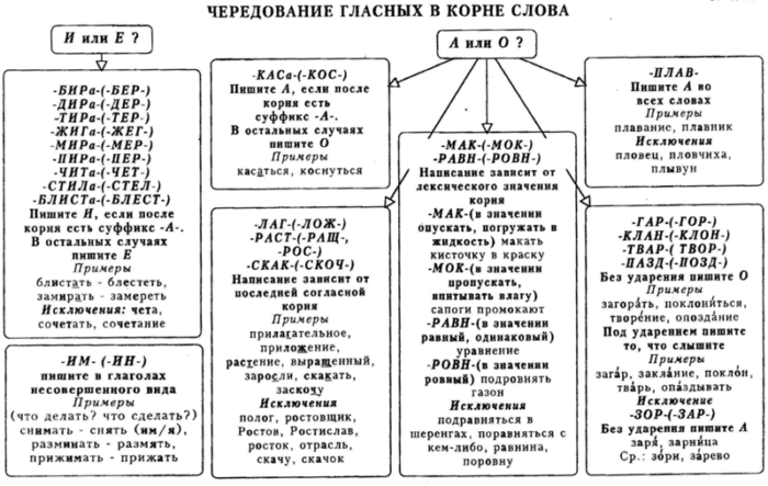 Рис. 2. Правила чередования гласных в разных корнях