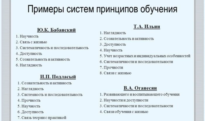 Рис. 2. Система принципов обучения