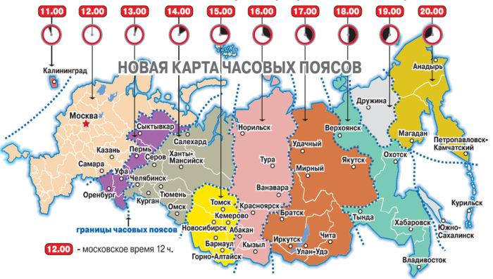 Рис. 3. Карта часовых поясов России
