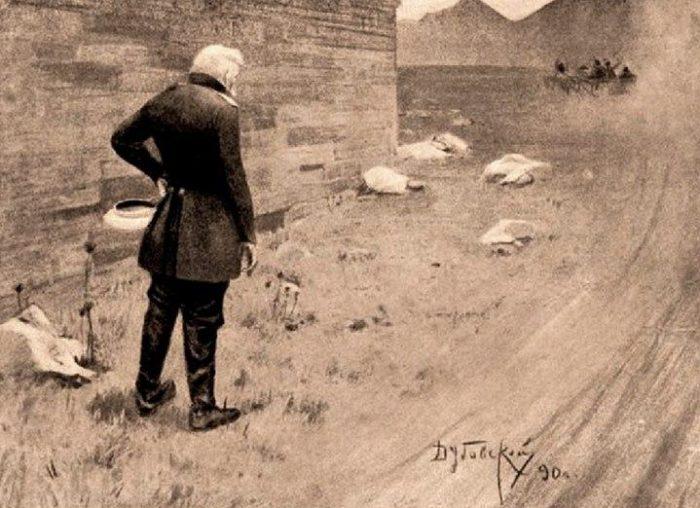 Рис. 3. Максим Максимыч провожает Печорина. Иллюстрация Н. Н. Дубовского. 1890 год