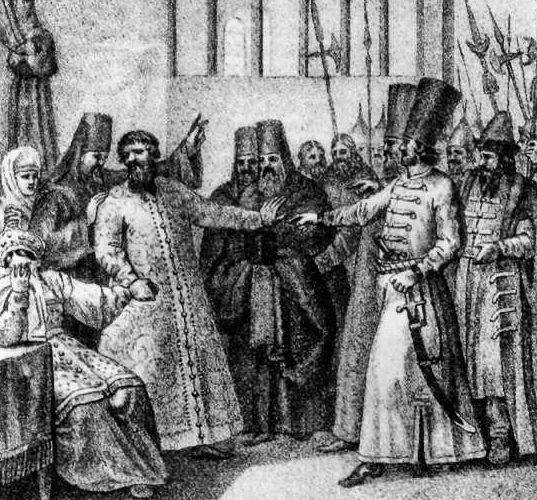 Рис. 4. Насильственное пострижение Василия Шуйского (1610 г.). Гравюра П. Иванова