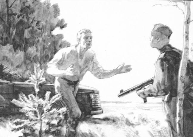 Рис. 5. Иллюстрации к повести М. Шолохова Судьба человека. Кукрыниксы