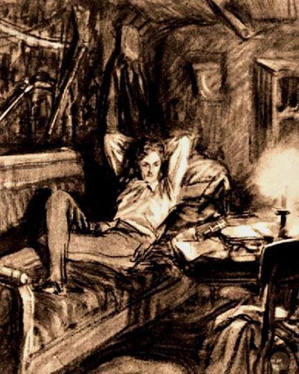 Рис. 5. Печорин на диване. Д. А. Шмаринов. 1941 год