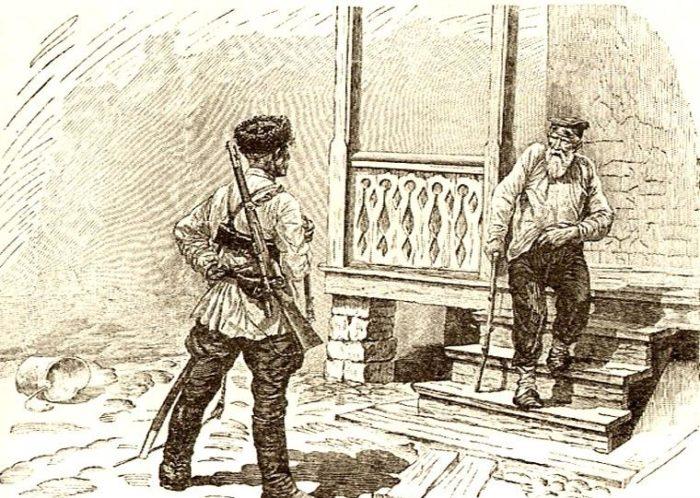Рис. 7. Дед Гришака и Мишка Кошевой. Иллюстрация С. Королькова