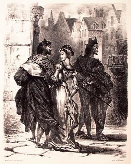 Рис. 8. Фауст, соблазняющий Маргариту. Автор Эжен Делакруа
